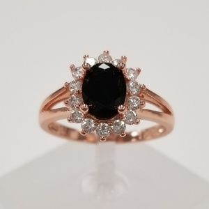 Rose Gold With Black Spinel Ring